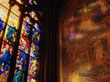 Stained Glass Window Throwing Light on Fresco  St Vitus Cathedral  Prague  Czech Republic