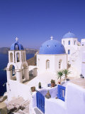 Domes and Bell Tower of Blue and White Christian Church  Oia  Santorini  Aegean Sea  Greece