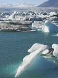 Icebergs in the Glacial Melt Water Lagoon at Jokulsarlon  Iceland  Polar Regions