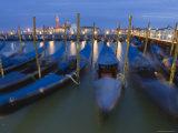 Gondolas on Waterfront at Night  San Giorgio Maggiore  Venice  Veneto  Italy