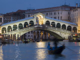 The Grand Canal  the Rialto Bridge and Gondolas at Night  Venice  Veneto  Italy