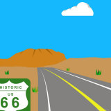 Illustration of Route 66 and Sign  Nevada  United States of America