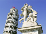 Statue in Front of the Leaning Tower of Pisa  Campo Dei Miracoli  Pisa  Tuscany  Italy