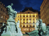 Statues at Fountain and Pension Neuer Markt at Neuer Markt Square  Innere Stadt  Vienna  Austria