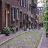 Beacon Hill  Acorn Street  Boston  Massachusetts  New England  USA