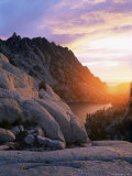 Sunset Over Granite Rock and Alpine Lakes  Goat Rocks  Cascades  Washington State  USA