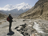 Trekker Enjoys the View on the Annapurna Circuit Trek  Jomsom  Himalayas  Nepal