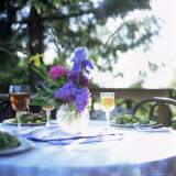 Table with Salad  Cider and Flowers  Washington State  USA