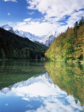 Reflections in Riessersee of Wetterstein Mountains  Garmisch-Partenkirchen  German Alps  Germany