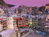 Vernazza Village and Harbour at Dusk  Cinque Terre  Unesco World Heritage Site  Liguria  Italy