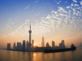 Lujiazui Finance and Trade Zone  with Oriental Pearl Tower  and Huangpu River  Shanghai  China