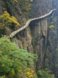 Footpath Along Rock Face  Xihai Valley  Mount Huangshan  Anhui Province  China