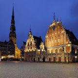 House of the Blackheads at Night  Ratslaukums (Town Hall Square)  Riga  Latvia  Baltic States