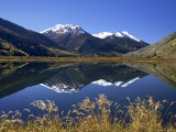 Snow-Capped Red Mountain Reflected in Crystal Lake with Fall Colors  Near Ouray  Colorado