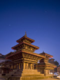 Orion in Sky at Dawn Above Pagoda Temple  Unesco World Heritage Site  Nepal