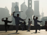 Morning Exercise Against the Background of Lujiazui Finance and Trade Zone  China