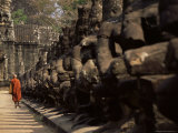 Buddhist Monk Approaching South Gate  Angkor Thom  Angkor  Cambodia  Indochina