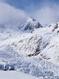 Upper Fox Glacier and the Southern Alps  South Island  New Zealand