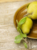 Pears on Brown Ceramic Plate