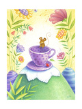 Mouse Hanging out on a Purple Teacup in a Wild Flower Forest