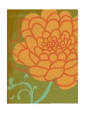 Floral Citron Green and Apricot