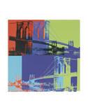 Brooklyn Bridge, vers1983 (orange, bleu, citron vert) Reproduction d'art par Andy Warhol