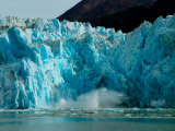 Blue Ice Calving Along Glacier Front of South Sawyer Glacier  Alaska