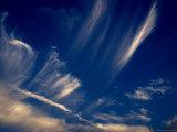 Cirrus Clouds against a Deep Blue Evening Sky  Groton  Connecticut