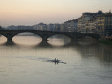Arno River and Rowers  Florence  Italy