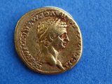 Ancient Gold Coin Used in Pompeii Displayed in a Museum in Pompeii  Italy