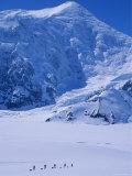 Climbing Expedition Passes Below Mount Forraker in the Alaska Range