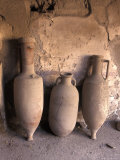 Ancient Wine Clay Vases in a Wine Store Using the Amphora Storage System in Pompeii  Italy