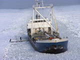 Cargo Ship through Thick Ice in the Gulf of Bothnia  Baltic Sea