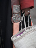 Close-Up of a Woman in Traditional Clothing Holding a Basket Purse  Qinghai  China