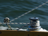 Close View of a Winch and Jib Sheet on a Sailboat under Sail