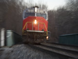 Close View of a Locomotive Rushing into the Zoom Lens  Silver Spring  Maryland