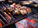 Closeup of Chicken Kebabs Cooking on a Campfire  Cape Cod  Massachusetts