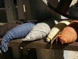 Bundles of Colorful Wool Yarn on Rustic Wool Spinner  California