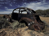 Burnt Out Antique Car Wreck Discarded to Rust Away in the Desert  Australia