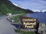 Chugach National Forest Sign and Scenic Landscape Along the Road  Alaska