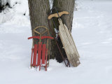 Antique Sleds in the Snow on a Family Farm near Cortland  Nebraska