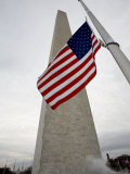 American Flag against the Washington Monument  Washington  DC