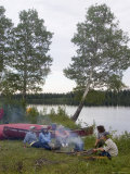 Canoeists Cooking Campfire on the Winisk River