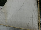 Close View of a Sail and Wooden Mast  Mystic  Connecticut