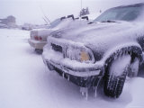 Blizzard Conditions at Ski Resort  Drifts and Ice on Cars  California