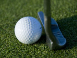 Close View of a Putter against a Golf Ball on the Green  Groton  Connecticut