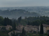 Aerial View of an Italian Hilltown with Fog in the Distance  Asolo  Italy
