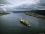 Aerial View of Freighter Transporting Logs on the Columbia River