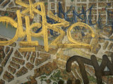 Graffiti on a Map of Florence  Italy