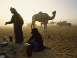 Bedouins Cooking on the Sand at their Camp at Sahamah  Oman